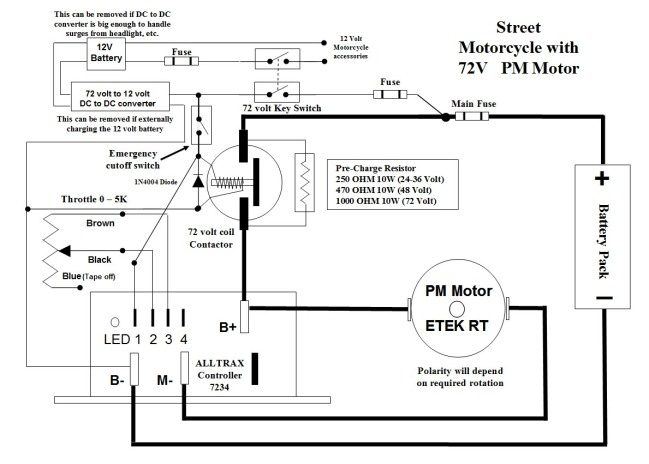 stuff i ve learned controllers contactors and converters oh my here s a basic wiring diagram for the alltrax i have the mars and the old brushed etek motor use at your own risk