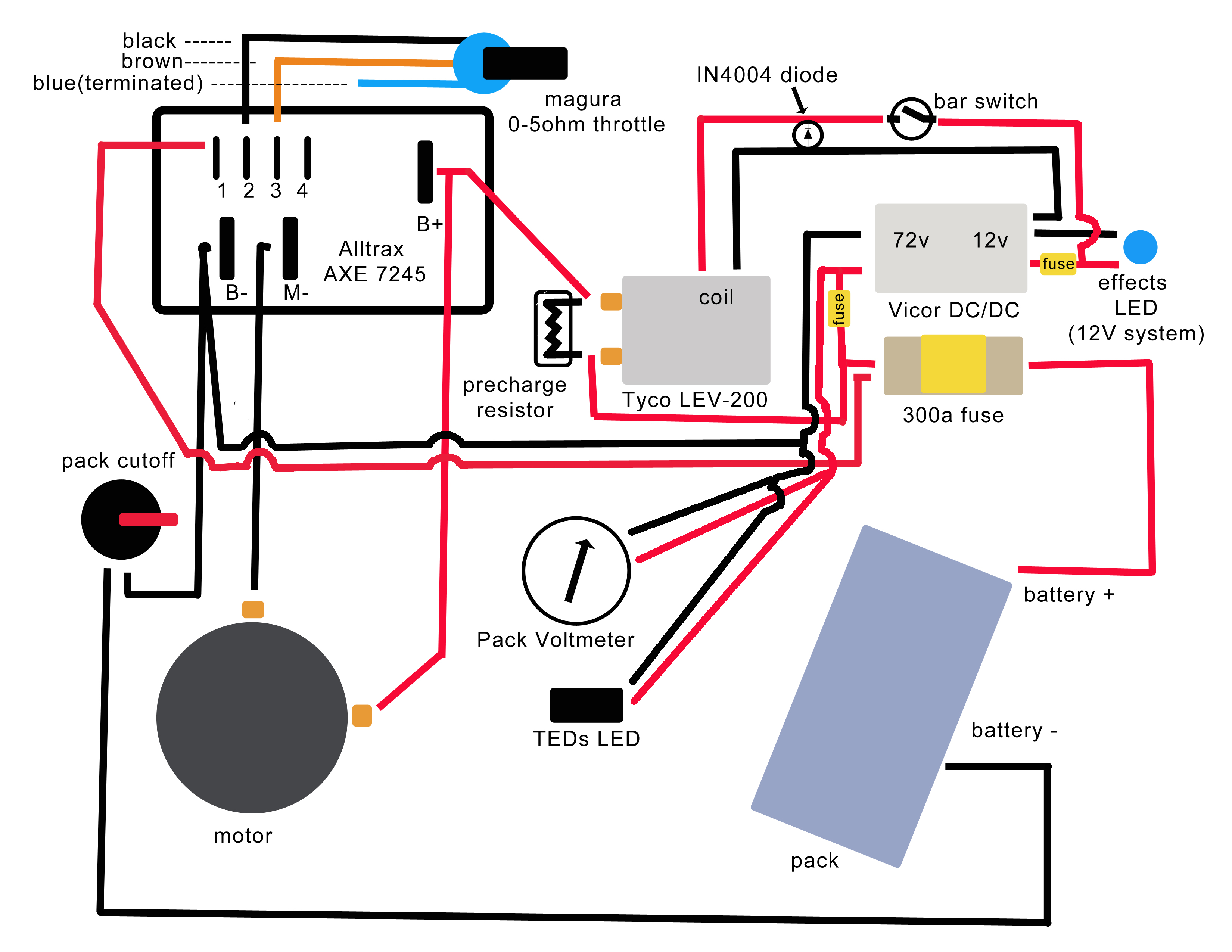 wiring to the bike here are the wiring instructions that came with E Trailer Wiring Diagram solarfest build your own electric motorcycle resources and links wiring to the bike here are the wiring instructions that came with